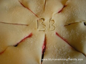 Slits and initials in the pie