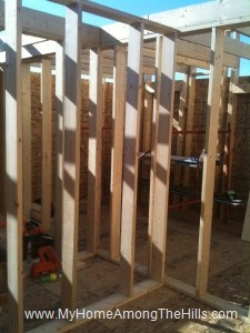 Interior wall framing for the small cabin