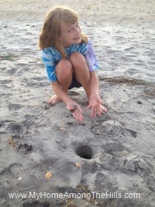Part of the walk...hunting for the largest sand crab hole!
