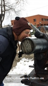 Licking the cannon in Punxsutawney